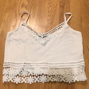 Primark Tops - white cropped lace tank top